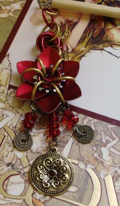 Oriental Treasure- Ruby Single Flower Chainmaille Kanzashi Hair Adornment