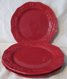 Superieur Better Homes And Gardens Embossed Christmas Red Mistletoe Dinner And Salad  Plates. Set Of 6