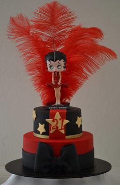 this 21st birthday cake was made for a beautifl girl that loves Betty Boop