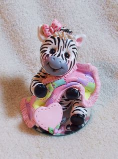zebra baby shower cake topper Christmas ornament  by clayqts, $24.95