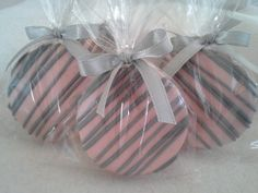 Pink and Gray Chocolate Covered Oreos Cookies Wedding Favors It's A Girl Baby Shower Christening