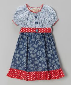 Love this Blue & Red Paisley & Polka Dot Dress - Toddler & Girls by Lele Vintage on #zulily! #zulilyfinds
