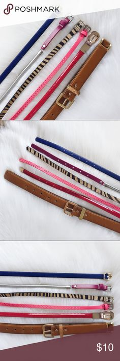 🌟Belts Collection Belts Collection: Brown belt-Banana Republic, XS, face man made material, back genuine leather, gold metal, barely used. Red belt-unbranded, shiny material, gold accents, XS. Pink belt-Old Navy, NWOT, XS. Pink/Silver belt-White House Black Market, expandable silver side, pink snakeskin material, XS. Blue Saffiano Faux Leather-LOFT, XS, NWOT. ALL SOLD SEPARATELY or if you want them all or a few please ask and will create a separate listing. Banana Republic Accessories Belts
