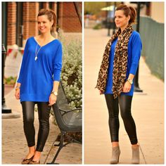 Day to evening look - leather leggings, cobalt blue and leopard.