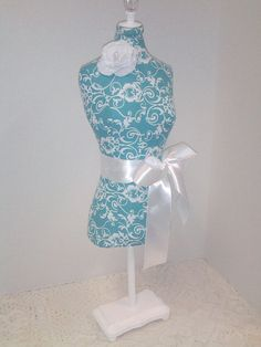 Teal Damask pin cushion Dress Form 19 inch by CoutureMarketProps, $42.00 https://www.etsy.com/shop/couturemarketprops
