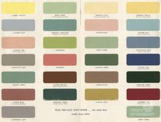 Awesome 1954 paint palette for kitchens and bathrooms from Sherwin-Williams for Your Home: http://retrorenovation.com/2013/09/10/1955-paint-colors/