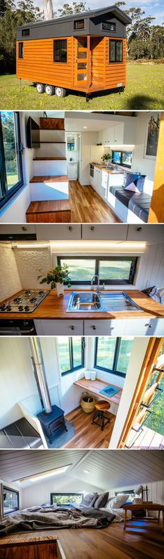 "Das kleine Haus der Graduate-Serie von Designer Eco Tiny Homes, The small house of the graduate series of designer Eco Tiny Homes, Adventure Series by Designer Eco ""Graduate Series Seaside"" Tiny House ""Adventure Series Tiny house on wheels Tyni House, Tiny House Living, Tiny House Office, Facade House, Tiny House Movement, Tiny House Plans, Tiny House On Wheels, Casas Trailer, Tiny Spaces"