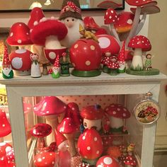 Mushroom Madness! Some were made by @jonehallmark , some by me, the rest were found at garden shops or in antique stores, and some were gifts. I'm gonna need a bigger shelf.
