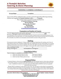 event management agreement template - free downloadable catering contracts forms catering