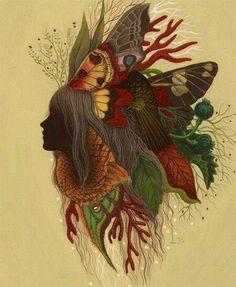 Girls head butterflies flowers art #butterfly #getinsync #art