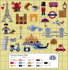 El blog de Dmc: Diagramas de punto de cruz de viajes