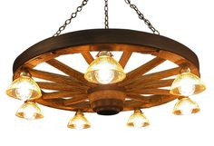 Boondocks Rustic Lodge Chunky Wood 6 Light Chandelier - Transitional - Chandeliers - by Kathy Kuo Home Country Chandelier, Mason Jar Chandelier, Vintage Chandelier, Chandelier Lighting, Flower Chandelier, Brass Chandelier, Wagon Wheel Chandelier Diy, Wagon Wheel Light, Transitional Chandeliers