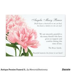Antique Peonies Funeral Sympathy Thank You Card