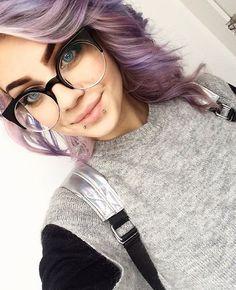 ❄️ #school #schooldays #violethair #lavenderhair #glasses #smile #snakebite #pierced #piercing #sweater #makeup #blueeyes