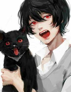 A black anime hair guy with a black cat Dark Anime, Blue Anime, Chibi, Cute Anime Guys, Anime Boys, Manga Art, Manga Anime, Anime Hair, Anime Boy Drawing