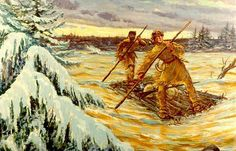 Major George Washington and his guide Christopher Gist cross the Allegheny River after Washington's meeting with the French commander at Fort LeBoeuf.