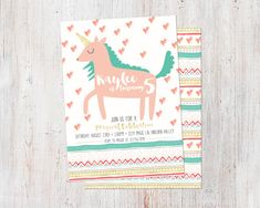 Unicorn Birthday Invitation : Printable Custom by deanworks