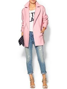 Brighten up any outfit with this blush coat.