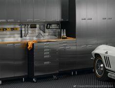 Garage Storage Cabinets for Your Minimalist and Modern Garage : Black FLoor Modern Look Steel Garage Storage Cabinets Garage Cabinet Systems, Garage Storage Solutions, Garage Storage Cabinets, Garage Organization, Workshop Organization, Tool Storage, Organized Garage, Car Storage, Workshop Ideas