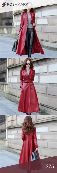 """Full Length Red Long Trench Lapel Coat  New beautiful Red Full Length Long Trench Windbreaker Lapel Leather look Coat. Fits a size M 8-10. It's an Asian XXL size but Asian sizes are very small. Bust is 36"""", waist is approx. 33"""" and coat is approx. 46"""" long. You can wear with the included belt as shown in picture 2. I love ❤️ this coat but unfortunately didn't fit me. I'm selling for exactly what I paid for. Keep in mind that Poshmark takes 20% from sales so can't negotiate too low on this…"""