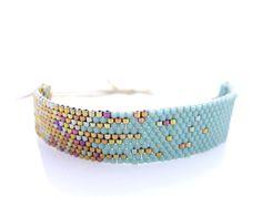 Mint Beaded Bracelet, Blue Stardust Bracelet, Adjustable Bracelet, Pixel Effect Bracelet, OOAK Handmade by JeannieRichard