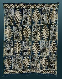 Africa | Ndop or Ntiesia/Ntieya Cloth from the Bamileke or Bamum people of the Grassfields area of the Cameroon | Handspun cotton, raffia for resist stitching sew dye, indigo dye | 20th century