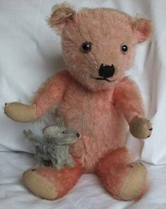 "Rare Pretty Pink 15"" 1930's Mohair chiltern Teddy Bear. So Sweet !! Photo via Ebay ......"