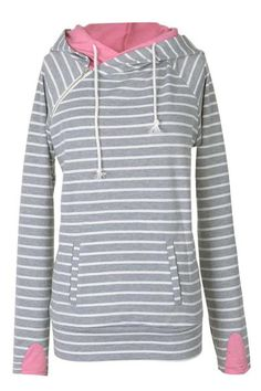 Zip as you please.Product Code: CSY367 Details: Stripe printing Double fabric hood Irregular zipper at front Comfy and soft Regularwash Fabric:53%Polyester,47
