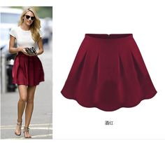 gorgeous red wine skater skirt. super cute and trendy. perfect for the upcoming holidays.