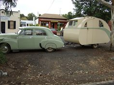Vintage car+caravan--love that car color!