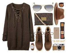 """""""Dark Chocolate"""" by monmondefou on Polyvore featuring Ray-Ban, Forever 21, Agent 18, Hermès, Maison Margiela, Bobbi Brown Cosmetics, Daniel Wellington and brown"""