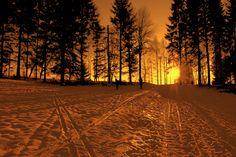 """Snow and Sunset"" from Oslo, Norway ©Asaki Abumi 北欧ノルウェー、首都オスロ 「雪と夕日」"