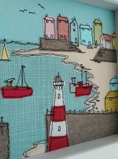 Sewn from a sketch my Cornish scene features a fabulous fishing village with a lighthouse and fishing boats The pretty painted cottages have wonderful views across the ba. Freehand Machine Embroidery, Free Motion Embroidery, Machine Embroidery Projects, Free Machine Embroidery, Free Motion Quilting, Machine Quilting, Embroidery Applique, Embroidery Ideas, Painted Cottage