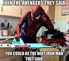 Funny, iron man, and memes: join the avengers they said. Marvel Jokes, Avengers Humor, Funny Marvel Memes, Dc Memes, Funny Memes, Hilarious, Movie Memes, Movie Tv, Marvel Fan