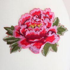 Embroidered Peony Flower (Iron-On)