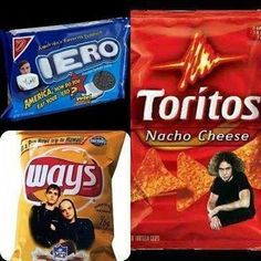 Okay, this is just hilarious. Brand names replaced with the names of the members of MCR. XD Why, yes, I would love some Ieros and Way's!!
