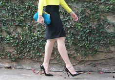 Blog Caca Dorceles. 2014. Meu Look: Verde e azul. Details: Zara Cashmere + Zara pencil skirt + Christian Louboutin scarpin + Laura Lima clutch.