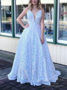 Sparkly White Sequin Prom Dresses Plunging V-neck Prom Gown FD2520 – Viniodress
