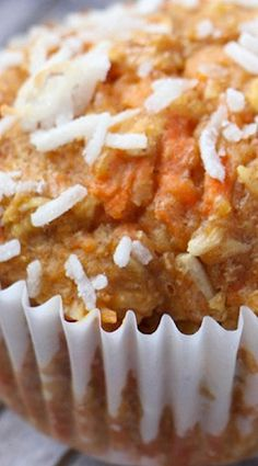 Coconut Carrot Muffins (note: coconut oil for butter and maple syrup for honey)