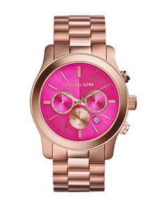 Michael Kors Oversize Rose Golden Stainless Steel Runway Chronograph Watch.