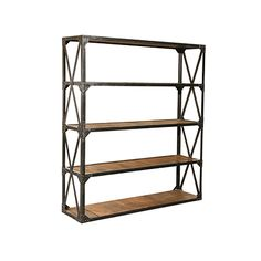 Hudson Goods: Vintage Industrial Furniture Wood and Metal Bookcase (Double)  Wood and metal. Go industrial with this reclaimed wood and metal frame bookcase. Perfect for books or collectibles in any living space. This bookcase is heavy made with reclaimed wood and a heavy industrial metal frame weighing over 200 pounds. This is a natural wood finish. (69w x 18d x 79h).   PRICE: 	 $1,695.00