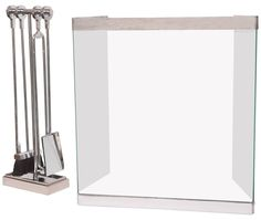 Vintage Polished Chrome and Glass Fireplace Screen with Matching Tools | From a unique collection of antique and modern screens and room dividers at https://www.1stdibs.com/furniture/more-furniture-collectibles/screens/