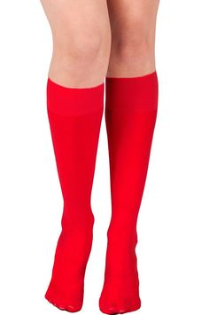 KMystic Womens Trouser Socks Knee High (Red) at Amazon Women's Clothing store: