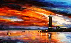 LIGHTHOUSE+—+PALETTE+KNIFE+Oil+Painting+On+Canvas+By+Leonid+Afremov+studio