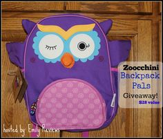 Zoocchini Backpack Giveaway: your choice of character! Giveaway ends 7/31/2016 US/Canada