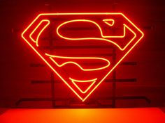 Man of Steel signs Cool Neon Signs, Love Neon Sign, Neon Light Signs, Led Neon Signs, Man Cave Neon Sign, Superman Comic Books, Pub Signs, Garage Signs, Sign Lighting