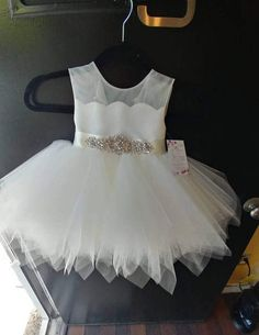 "Chic and sophisticated ""Estee"" ivory tea lenght flower girl dress with scallop edge satin, English n Toddler Flower Girl Dresses, Baby Girl Party Dresses, Toddler Dress, Toddler Pageant, Cute Dresses, Beautiful Dresses, Girls Dresses, Sophisticated Dress, Dress Sketches"