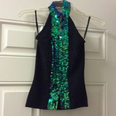 Black Knit Halter Top Gorgeous Black knit halter too with green/blue iridescent sequins and black beads, excellent condition, NWOT, fit more like an xsmall Phosphorus Tops