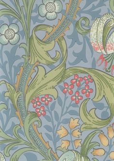 Golden Lily Wallpaper Classic William Morris floral print wallpaper with a blue background