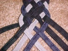 braiding 8 strands - good use for the t-shirt hems i've been collecting from upcycle projects
